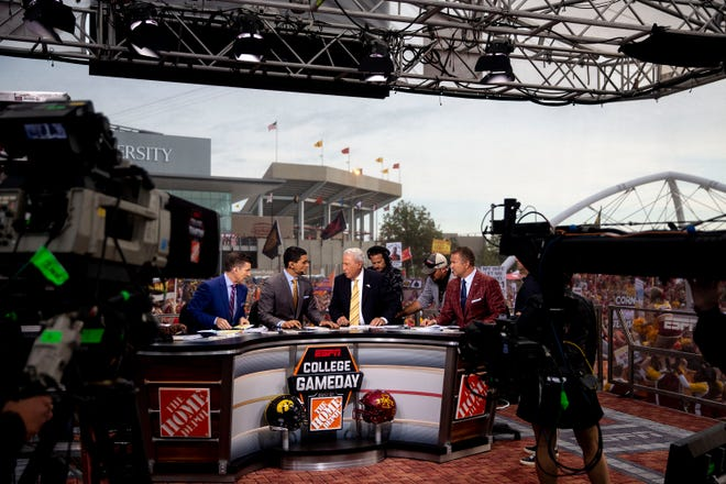 "The hosts ESPN's ""College GameDay"" film outside of Jack Trice Stadium before the Iowa vs. Iowa State football game on Saturday, Sep. 14, 2019, in Ames, Iowa."