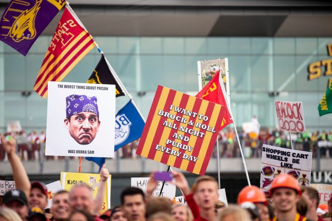 """Hundreds of people pack into the set of ESPN's """"College GameDay"""" before the Iowa vs. Iowa State football game on Saturday, Sep. 14, 2019, outside of Jack Trice Stadium in Ames, Iowa."""