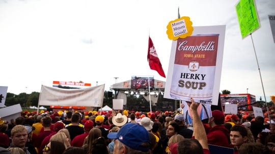 "Hundreds of people pack into the set of ESPN's ""College GameDay"" before the Iowa vs. Iowa State football game on Saturday, Sep. 14, 2019, outside of Jack Trice Stadium in Ames, Iowa."