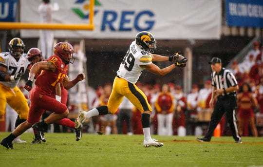 Iowa wide receiver Nico Ragaini stretches to catch a pass against Iowa State on Sept. 14. The redshirt freshman has 17 receptions in his first five games.