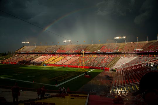A rainbow lights up the sky during a lightning delay at the Cy-Hawk football game at Jack Trice Stadium on Saturday, Sept. 14, 2019, in Ames. With the Big Ten playing only conference games for the college football 2020 season, the rivalry game between the Hawkeyes and the Cyclones will not happen.