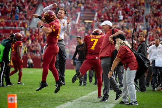 Iowa State quarterback Brock Purdy (So.) (15) celebrates after a touchdown in the first quarter of the Cy-Hawk football game at Jack Trice Stadium on Saturday, Sept. 14, 2019 in Ames.