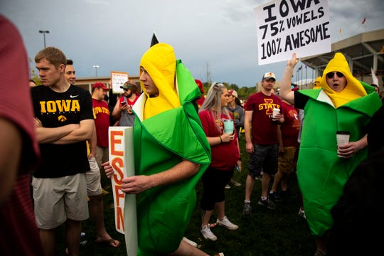 It wouldn't be Iowa without some ears of corn walking around Ames.