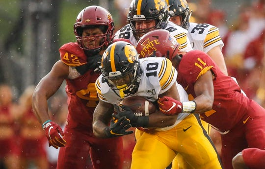 Iowa running back Mekhi Sargent played through a wrist injury to make some critical plays in Ames.