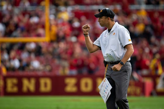 Iowa State head coach Matt Campbell cheers after a touchdown in the first quarter of the Cy-Hawk football game at Jack Trice Stadium on Saturday, Sept. 14, 2019 in Ames.