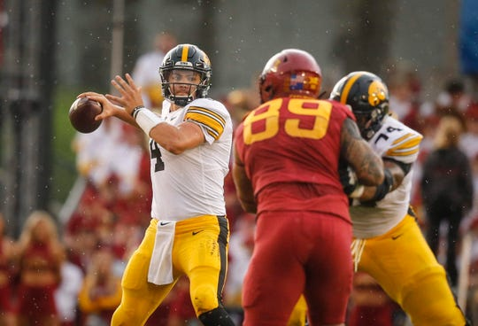 Iowa senior quarterback Nate Stanley fires a pass in the first quarter against Iowa State on Saturday, Sept. 14, 2019, at Jack Trice Stadium in Ames.