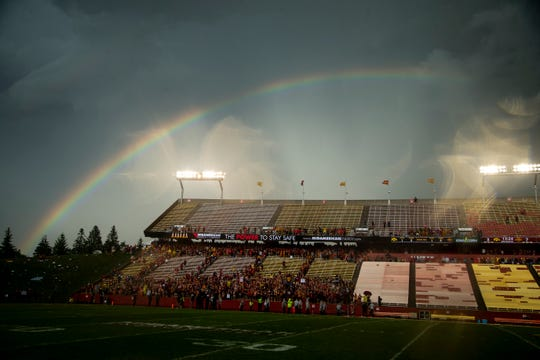 A rainbow lights up the sky during a lightning delay at the Cy-Hawk football game at Jack Trice Stadium on Saturday, Sept. 14, 2019 in Ames.