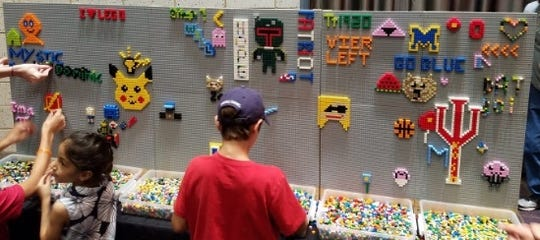 The Brickworld Lego Exposition features Lego creations built by local fans and play areas showcasing Lego and its cousin Duplo.