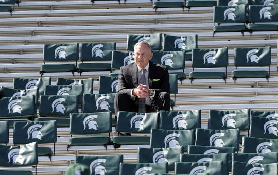 Michigan State Spartans head coach Mark Dantonio sits in the stands before action against the Arizona State Sun Devils, Saturday, Sept. 14, 2019 at Spartan Stadium.