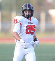 Dearborn Pioneers tight end Tommy Guajardo on the field vs. Belleville, Friday, Sept. 13, 2019 at Belleville high school.