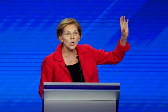 In this Spet. 12, 2019, photo, Sen. Elizabeth Warren, D-Mass., speaks during a Democratic presidential primary debate hosted by ABC. Warren, 70, is highlighting her electability argument by laying out policy proposals that she said will fix the problems that got Trump elected in the first place.