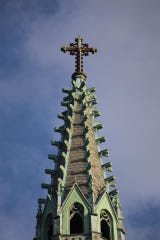 Restoration work recently was completed on steeple and bell tower.