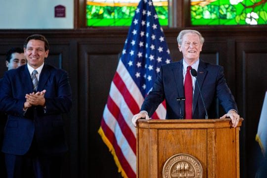 FSU President John Thrasher and Florida Governor Ron DeSantis announced the university's significant jump in rankings in a press conference on Monday.
