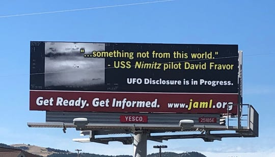 This sign along Highway 12 near Helena calls attention to the UFO phenomenon.