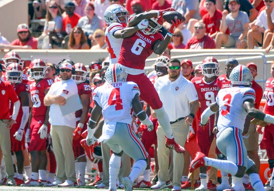 Indiana Hoosiers wide receiver Donovan Hale (6) makes a contested catch during the game against Ohio State at Memorial Stadium in Bloomington, Ind., on Saturday, Sept. 14, 2019.