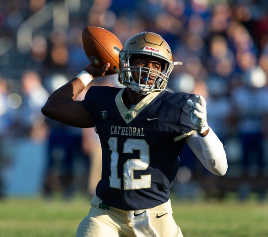 Cathedral quarterback Orin Edwards (12) had a big game against Bishop Chatard.
