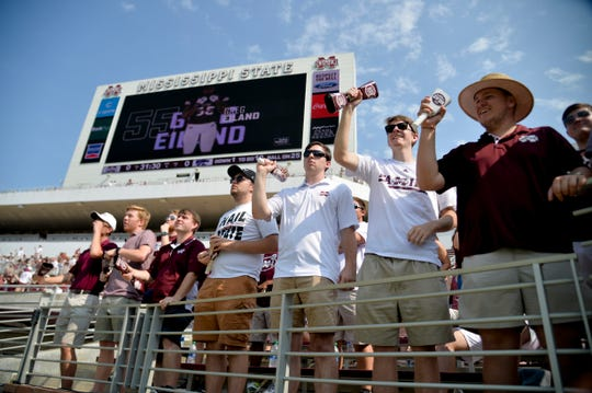 Sep 14, 2019; Starkville, MS, USA; Mississippi State Bulldogs fans cheer before the game against the Kansas State Wildcats at Davis Wade Stadium. Mandatory Credit: Matt Bush-USA TODAY Sports