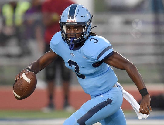 Ridgeland quarterback Zy McDonald (3) rolls out against Terry on Friday, September 13, 2019, at Ridgeland High School in Ridgeland, Miss.