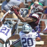 Mississippi State's Osirus Mitchell (5) tries to haul in a pass in the end zone in the fourth quarter. Mississippi State and Kansas State played in a college football game on Saturday, September 14, 2019 at Davis Wade Stadium in Starkville. Photo by Keith Warren