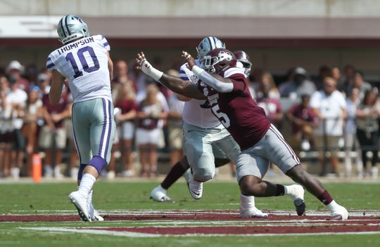 Mississippi State's Chauncey Rivers (5) pressures Kansas State's Skylar Thompson (10) in the first quarter. Mississippi State and Kansas State played in a college football game on Saturday, September 14, 2019 at Davis Wade Stadium in Starkville. Photo by Keith Warren