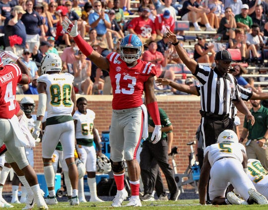 Sep 14, 2019; Oxford, MS, USA; Mississippi Rebels linebacker Sam Williams (13) reacts during the first half against the Southeastern Louisiana Lions at Vaught-Hemingway Stadium. Mandatory Credit: Justin Ford-USA TODAY Sports