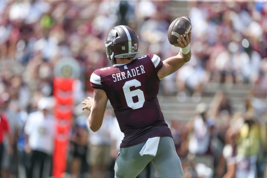 Mississippi State's Garrett Shrader (6) releases a pass in the fourth quarter. Mississippi State and Kansas State played in a college football game on Saturday, September 14, 2019 at Davis Wade Stadium in Starkville. Photo by Keith Warren
