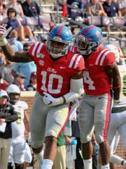 Sep 14, 2019; Oxford, MS, USA; Mississippi Rebels linebacker Jacquez Jones (10) and linebacker Brandon Mack (4) react during the first half against the Southeastern Louisiana Lions at Vaught-Hemingway Stadium. Mandatory Credit: Justin Ford-USA TODAY Sports