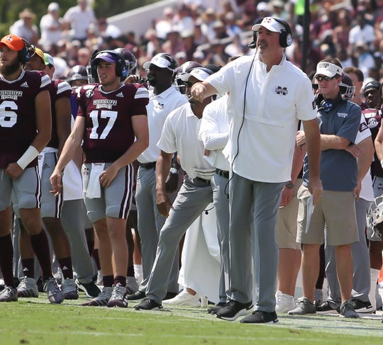Mississippi State head football coach Joe Moorhead calls a play in the first half. Mississippi State and Kansas State played in a college football game on Saturday, September 14, 2019 at Davis Wade Stadium in Starkville. Photo by Keith Warren