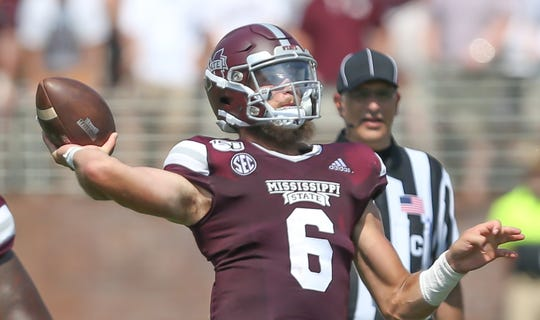 Mississippi State's Garrett Shrader (6) releases a pass. Mississippi State and Kansas State played in a college football game on Saturday, September 14, 2019 at Davis Wade Stadium in Starkville. Photo by Keith Warren