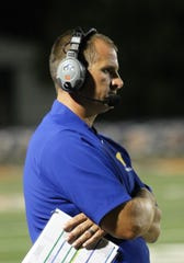 Westview coach Matt McConnell Looks on as the Chargers played Obion County during a Week 4 football game at UT Martin on Sept. 13, 2019.