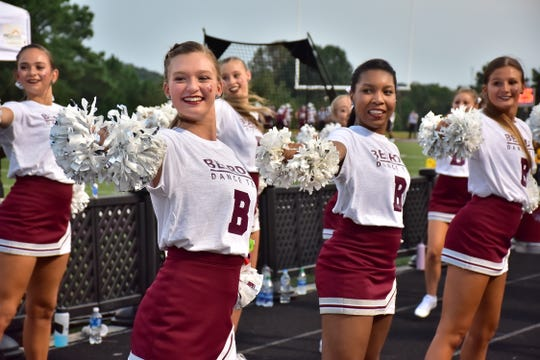 Bearden High's dance team performs for the crowd, Friday, Sept. 13, 2019.