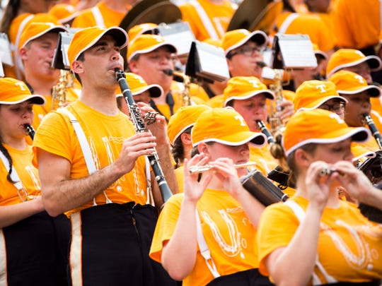 The Pride of the Southland band wears the T-shirt made with a bullied child's design for a home game against Chattanooga on Sept. 14, 2019.