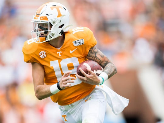 Tennessee quarterback Brian Maurer (18) during Tennessee's home game against Chattanooga in Neyland Stadium in Knoxville on Saturday, Sept. 14, 2019.