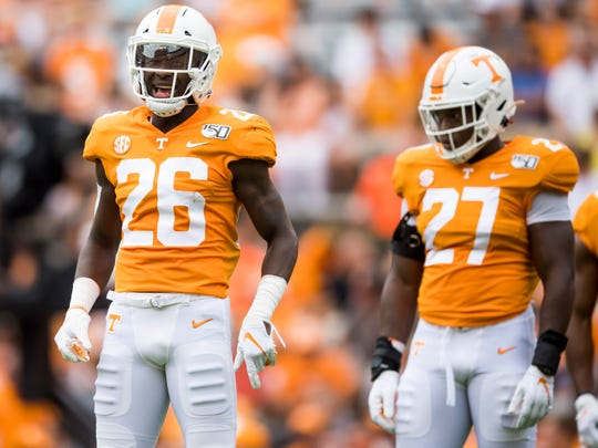 Tennessee defensive back Theo Jackson (26) celebrates making a play against Chattanooga in Neyland Stadium on Sept. 14. Jackson will be a consistent starter at safety for the Vols following an injury to Trevon Flowers.