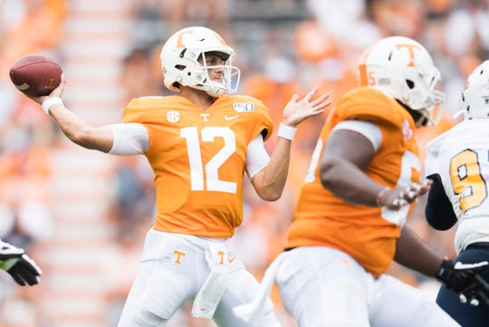 Tennessee quarterback J.T. Shrout (12) throws the ball during a game between University of Tennessee and Chattanooga at Neyland Stadium, Saturday, Sept. 14, 2019.