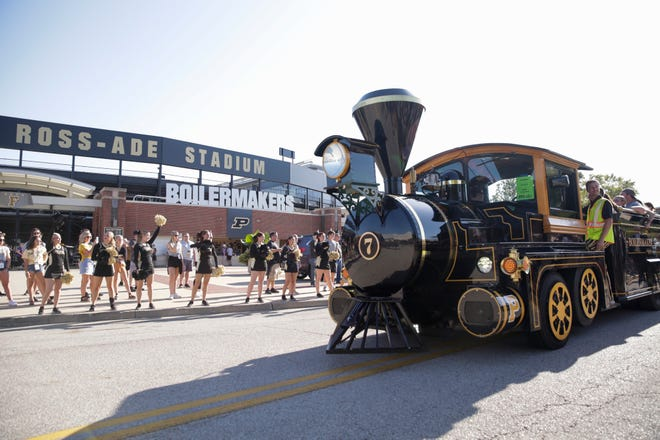 The Boilermaker Special leads the team along Joe Tiller drive prior to a NCAA football game between the Purdue Boilermakers and the Texas Christian University Horned Frogs, Saturday, Sept. 14, 2019 in West Lafayette.