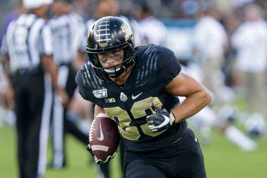 Purdue wide receiver Jackson Anthrop (33) runs the ball prior to a NCAA football game between the Purdue Boilermakers and the Texas Christian University Horned Frogs, Saturday, Sept. 14, 2019 in West Lafayette.