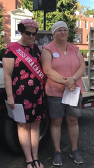 2019 Miss Lancaster Ohio Bra Crawl Monica Lutz (right) is pictured with last year's winner, Kristin Scior.