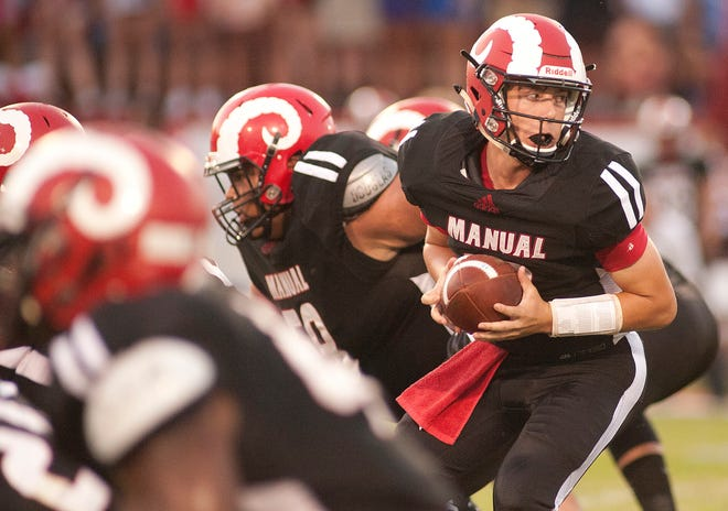 Manual quarterback Zach Recktenwald looks to hand off the ball. Sept. 13, 2019