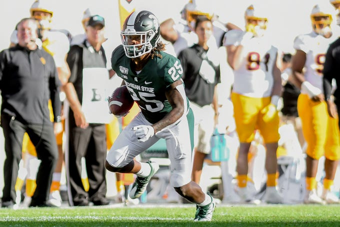 Michigan State's Darrell Stewart Jr. runs after a catch during the second quarter on Saturday, Sept. 14, 2019, in East Lansing.