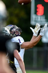 Fowlerville's Ryan Dixon catches a touchdown pass during the first quarter on Friday, Sept. 13, 2019, in Williamston.