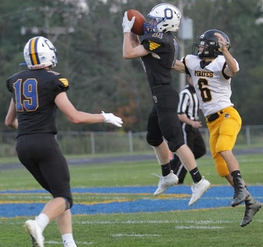 Ontario's Owen Hatfield picks off a pass in a Week 3 win over Black River. The Warriors will need a perfect game against Shelby in Week 4.