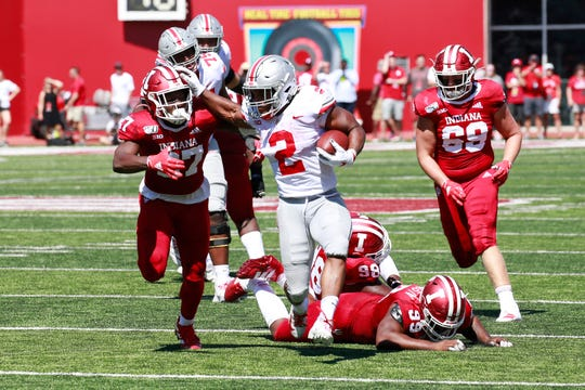 Ohio State tailback J.K. Dobbins slipped tackle after tackle on this 26-yard touchdown run in Saturday's 51-10 rout of Indiana.