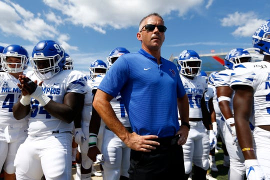 Memphis Tigers Head Coach Mike Norvell prepares to lead his team out on to the field to take on the South Alabama Jaguars at the Ladd-Peebles Stadium in Mobile, Ala. on Saturday, Sept. 14, 2019.