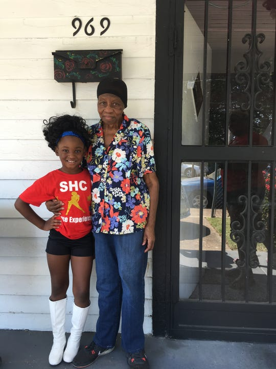 Sept. 14, 2019 - After Syncere Ufeu, 5, danced in the Southern Heritage Classic Orange Mound Parade, she visited her great-great-grandmother, Mattie Pearl Patterson, 84. Patterson has lived in her Orange Mound home for 82 years.