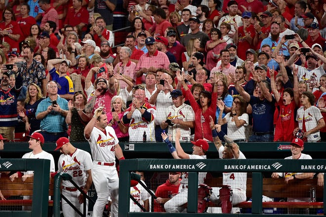 Paul Goldschmidt gets a curtain call from the Cardinals fans at Busch Stadium in the sixth inning after he hit his second home run of the game.