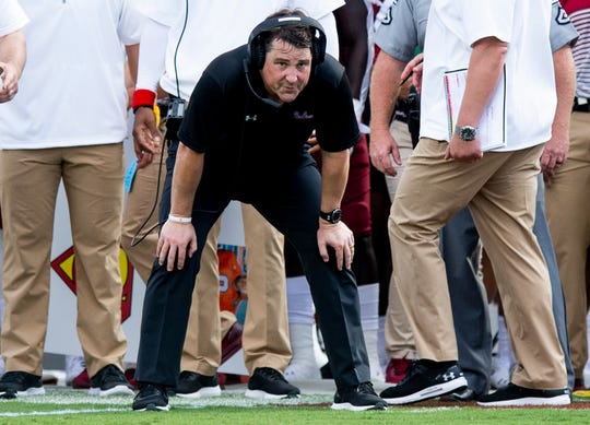 South Carolina head coach Will Muschamp watches the action against Alabama at Williams-Brice Stadium in Columbia, S.C., on Saturday September 14, 2019.