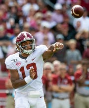 Alabama quarterback Tua Tagovailoa (13) passes against South Carolina at Williams-Brice Stadium in Columbia, S.C., on Saturday September 14, 2019.