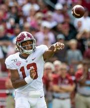 Alabama quarterback Tua Tagovailoa (13) passes against South Carolina at Williams-Brice Stadium in Columbia, S.C., on Saturday September 14, 2019.