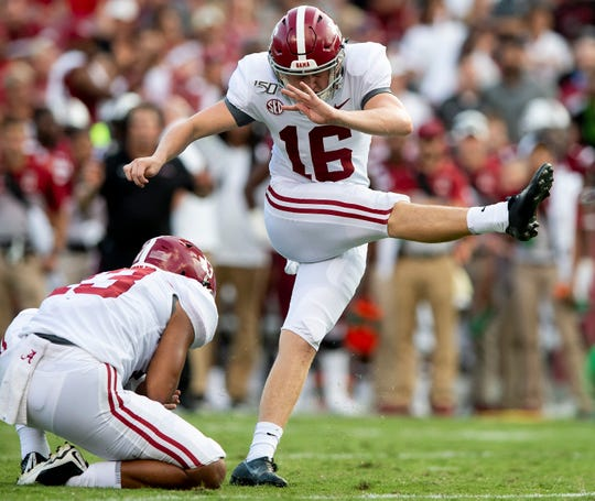 Alabama placekicker Will Reichard (16) successfully kicks a field goal against South Carolina at Williams-Brice Stadium in Columbia, S.C., on Saturday September 14, 2019.